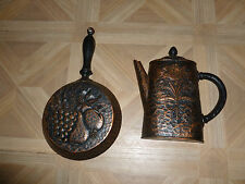 Vintage Home Interiors Wall Hanging Kitchen Copper Look Skillet and Coffee Pot