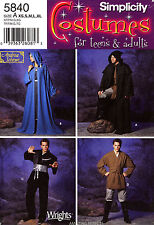 Simplicity Pattern 5840 Men's Women's Costume XS-XL Capes Tunic Robe hooded