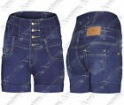 NEW WOMENS LADIES BOW BACK HIGH WAISTED DENIM HOT PANTS JEANS BLUE SHORTS JEAN