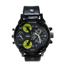 Men's Wrist Watch Gift Sports Military Steel Case Quartz Faux Leather Band Часы