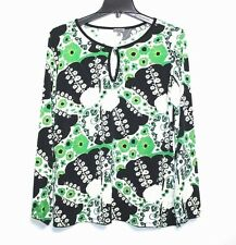 Caia - L - Green Floral Paisley Print Keyhole Jersey Knit Top - Tunic