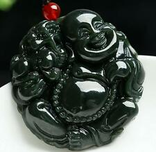 Natural green jade pendant Laughing Buddha amulet