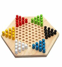 Traditional Hexagon Wooden Chinese Checkers Family Game Set L3