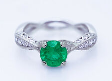 $8750 TACORI 18K 1.15ct No Oil Intense Green Columbian Emerald & 0.41ct Diamonds