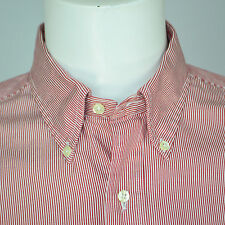 BROOKS BROTHERS Traditional Fit Cotton Dress Shirt Sz 15.5 - 34 Red White