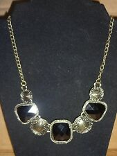 NEW Big Black Stone Acrylic Vintage Bronze Gold Necklace Choker Costume Jewelry