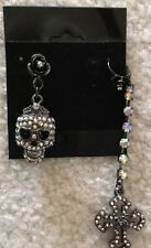Betsey Johnson Skull Cross Dangle Mismatch Earrings NWOT