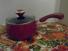 "PAULA DEEN 2 QT COVERED SAUCE PAN~ ""RED"" SPECKLE~NON-STICK~NEW"