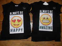 Primark Girls SMILEY EMOJI T Shirt Tee Top BRUSH SEQUINS HAPPY AMAZING