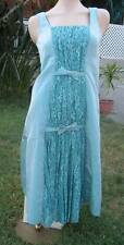 Betsey Johnson Long Teal Blue Prom Gown with Lace Pattern and Bow NWT Orig $385
