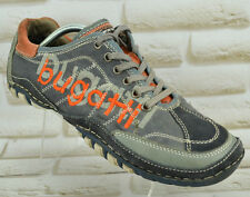 BUGATTI Leather Textile Mens Sneakers Grey Shoes Lace-Up Trainers Size 9 UK 43 E