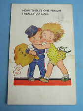 Agnes Richards Postcard 1930s Postman Post Bag Theme ONE PERSON I REALLY DO LOVE