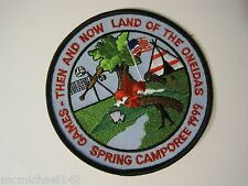 Games Then and Now Land of the Oneidas Spring Camporee 1999 BSA Patch boy scouts