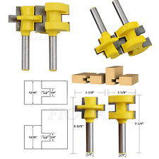 """2x Mini Tongue & Groove Router Bit Set 1/4"""" Shank Woodworking Tool Chisel Cutte"""