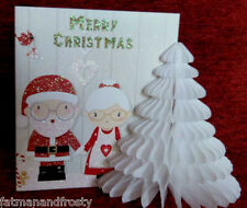 POP UP 3D CHRISTMAS CARD DECORATION SANTA & MRS CLAUS HOLDING HANDS Xmas Card