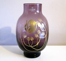 Purple Caithness Art Nouveau Glass Vase By Colin Terris.