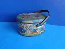 "VINTAGE EASTER PATRIOTIC  LITHO CANDY TIN- ""PETER RABBIT ON PARADE"" TINDECO"