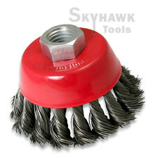 "New 3"" Knot Type Fine Wire Cup Brush Wheel 5/8"" Arbor FITS 4-1/2"" Angle Grinder"
