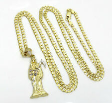 "6.50Gram 10k Yellow Real Gold Grim Reaper Death Pendant w/ 24"" cuban chain set"