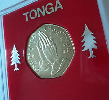 1982 Tonga One Pa'anga Christmas Xmas Card Keepsake BU Coin Gift in Display Case