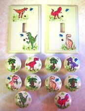 10 DINOSAURS & PALM TREES - Hand Painted WOODEN KNOBS & SWITCH PLATES