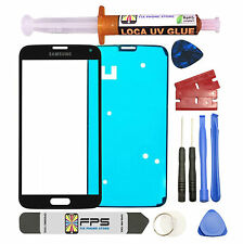 Black Front Outer Lens Screen Glass Replacement for Samsung Galaxy S5 SM-G900