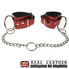 Red Plain Handcuff Large Ring Studded Real Leather Handmade In England