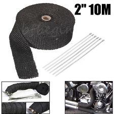 """10M  2"""" Titane Isolant Thermique Bande Moto Tuyau d'Echappement tissu de verre"""
