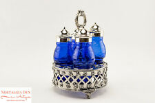 Vintage Cobalt Blue Glass Victorian Style Castor Set | Condiment Caddy