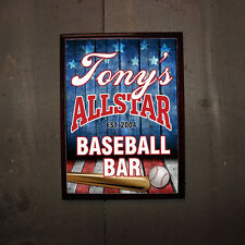 Personalized All Star Baseball Bar Wood Pub Sign Man Cave Groomsmen Sports Gift