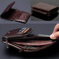 100% Brand New Men's Top ITALIAN Genuine Leather Trifold Wallet Purse Luxury
