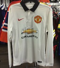 Manchester United Soccer White Home Jersey Long Sleeves Premier League Medium