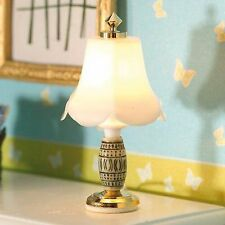 1/12TH SCALE DOLLS HOUSE TABLE LAMP WITH GREY ORNATE BASE