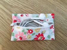 Handmade Earphone Earbud Zipped Case Pouch - Cath Kidston Bright Pop Fabric
