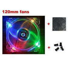 120mm Fans 4 LED Color For Computer PC Case Cooling +Dust Filter+Screws