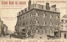 CARTE POSTALE PUB GRAND HOTEL DU LOUVRE E. DUFOUR VILLEDIEU LES POELES