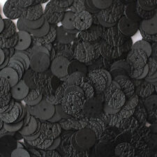 8mm Flat SEQUIN PAILLETTES ~ BLACK LEATHER Effect Premium ~  Disc ~  Made in USA