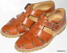 Men's Size 7 Bally Leather Orange Brown Fisherman Closed Toe Sandals Casual