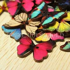 50pcs 2 Holes Mixed Butterfly Wooden Buttons Sewing Scrapbooking Cardmaking Xmas