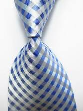 New Classic Checks White Blue JACQUARD WOVEN 100% Silk Men's Tie Necktie