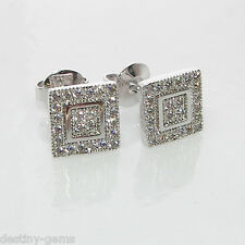 New 8mm Square Simulated Diamond Micro Pave Stud Earrings Silver Rhodium Plated