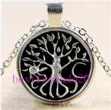 Sun Moon Tree Of Life Cabochon Glass Tibet Silver Chain Pendant Necklace#6496