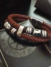 """Godsent Mens Stainless Steel Genuine Brown Leather Beaded Bracelet Designer 8"""""""