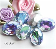 3 Czech 18x13mm Light Sapphire AB OVAL Glass Vintage Crystals Foiled 18mm x 13mm