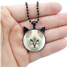 Photo Cabochon Glass charm Black Necklace(blue eyes cat face)with ears pendant