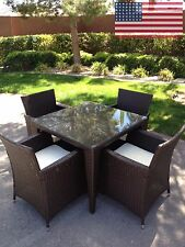 5 PC Outdoor All Weather Wicker Rattan Table Patio Set Furniture Dining USA