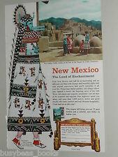 1957 New Mexico State Tourism ad, Taos Pueblo, Zuni