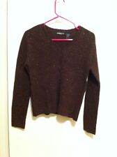 Express Jeans Stretch Womens S 94% Lambs Wool V Me K Sweat Shirt Brown