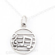 """MUSIC STAFF NOTES Treble Clef Charm Pendant 925 STERLING SILVER 18"""" Necklace"""