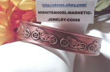 MENS RAISED MOTORCYCLES HEAVY SOLID COPPER CUFF MAGNETIC THERAPY BRACELET HEALTH